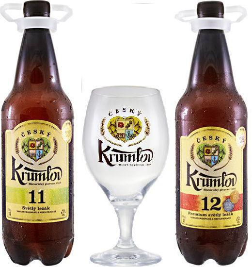 Dva ležáky a jedena sklenička Krumlov 11, Krumlov 12 v 1l PET a sklenička ČK 0,3l v dárkové krabici.