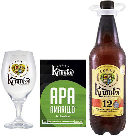 Světlý ležák Krumlov 12 , speciál Krumlov 13 APA Amarillo a sklenička ČK 0,3l  v dárkové krabici.
